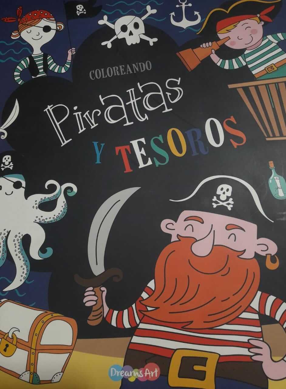 LIBRO COLOREAR 22X28CM COLOREANDO PIRATAS Y TESOROS