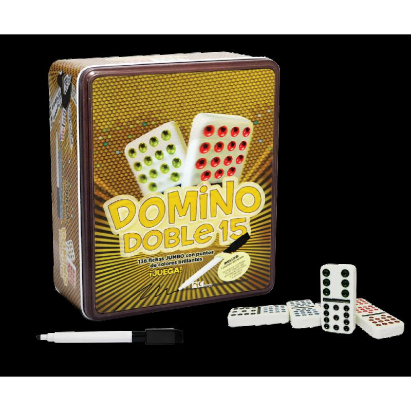 DOMINO DOBLE 15 EN CAJA METALICA