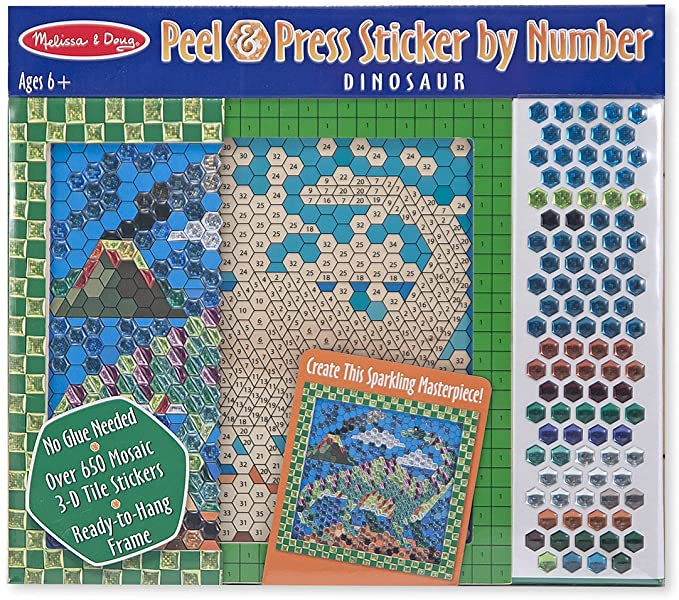 PEEL & PRESS STICKER BY NUMBER - DINOSAU
