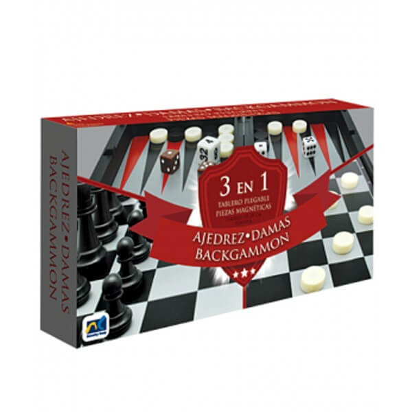SET 3 EN 1 MAGNETICO AJEDREZ, DAMAS Y BACKGAMMON